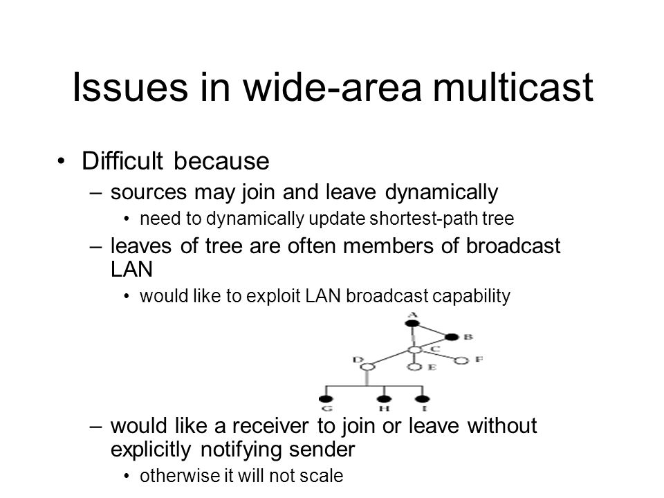 Issues in wide-area multicast
