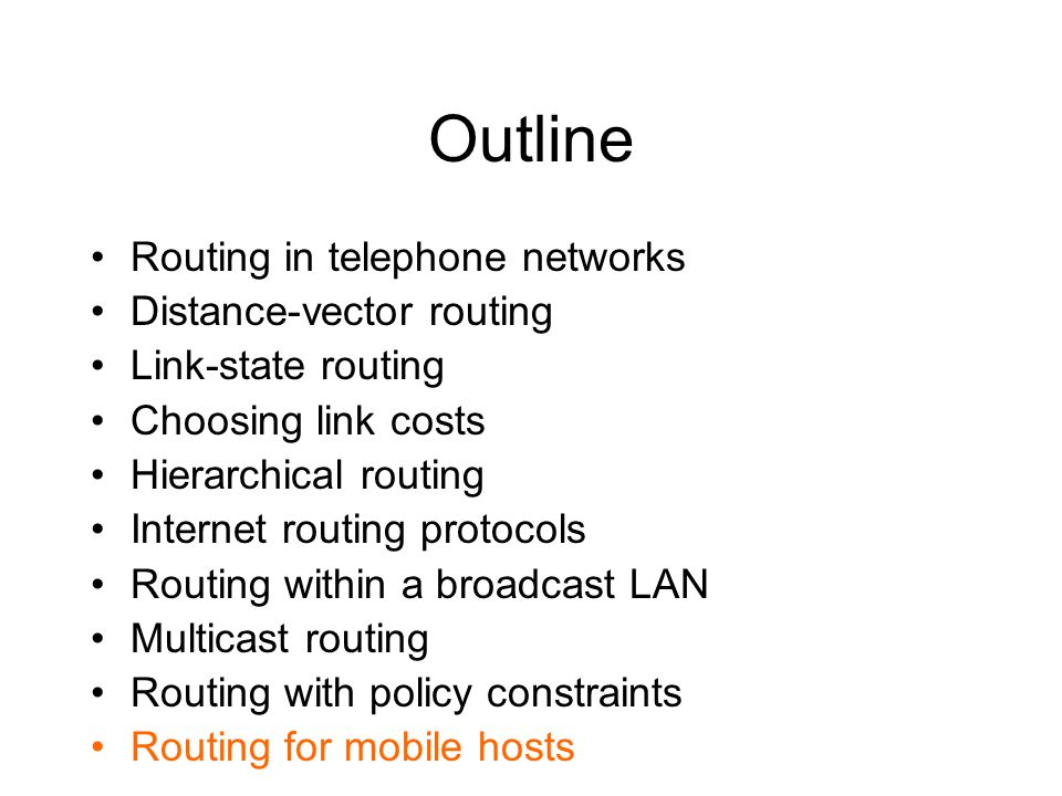 Outline Routing in telephone networks Distance-vector routing