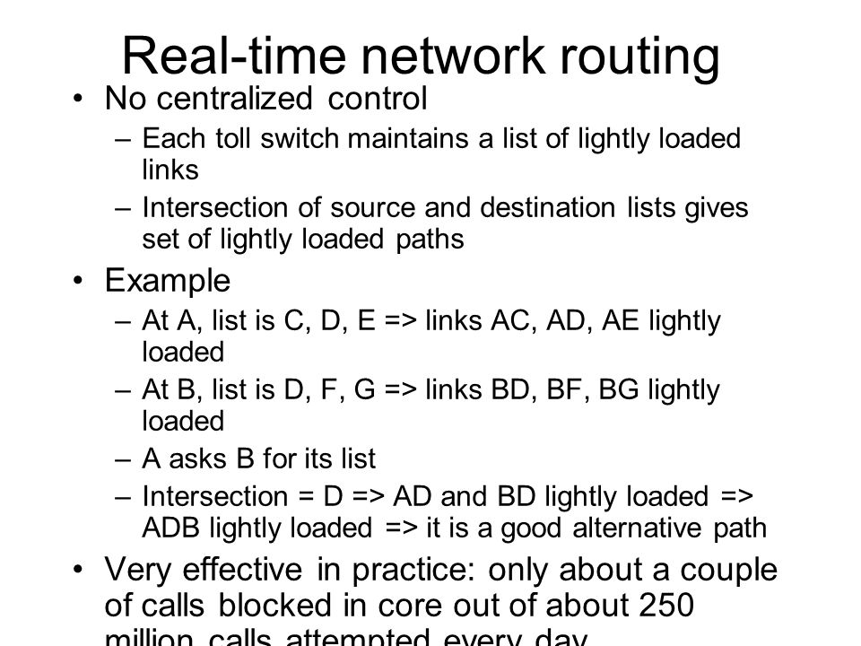 Real-time network routing