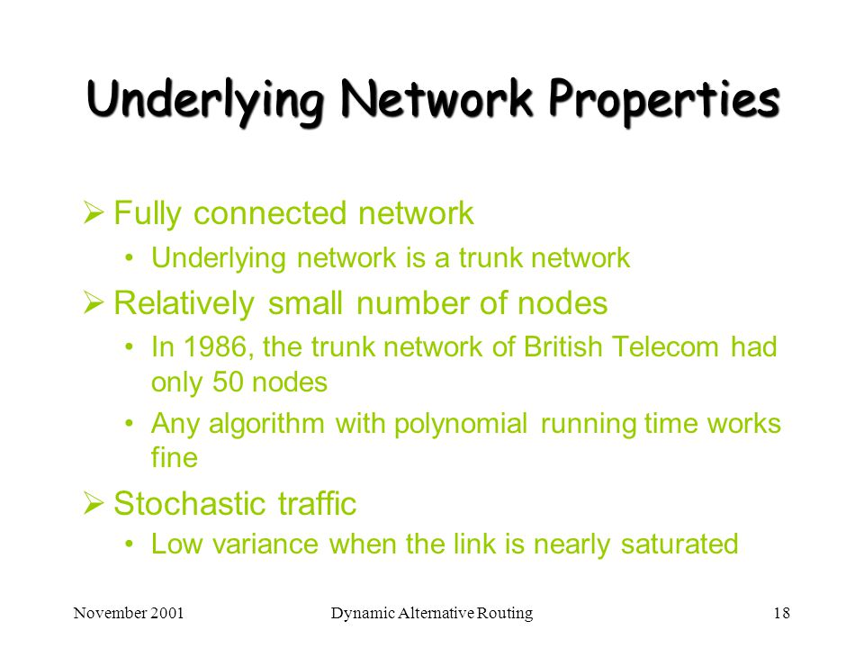Underlying Network Properties