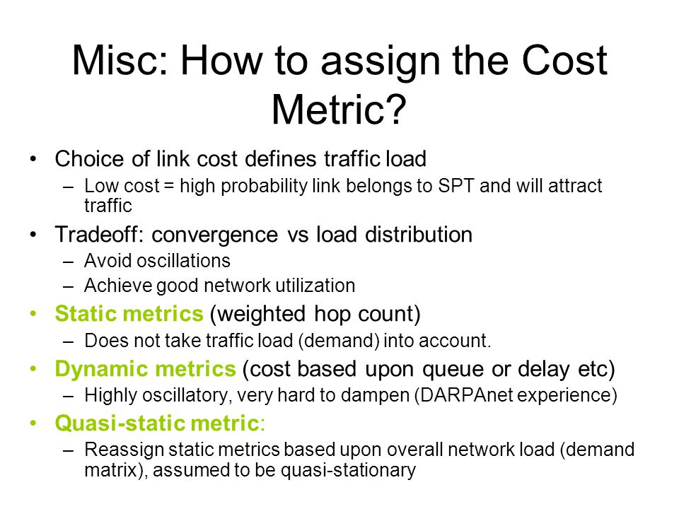 Misc: How to assign the Cost Metric