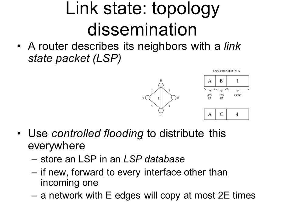 Link state: topology dissemination