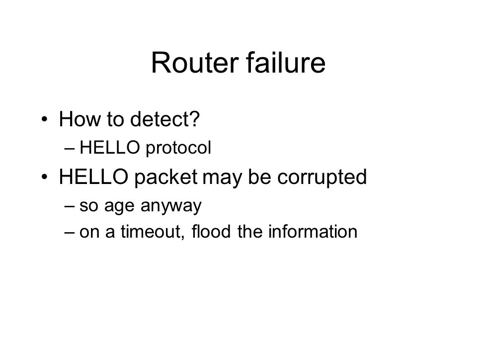 Router failure How to detect HELLO packet may be corrupted