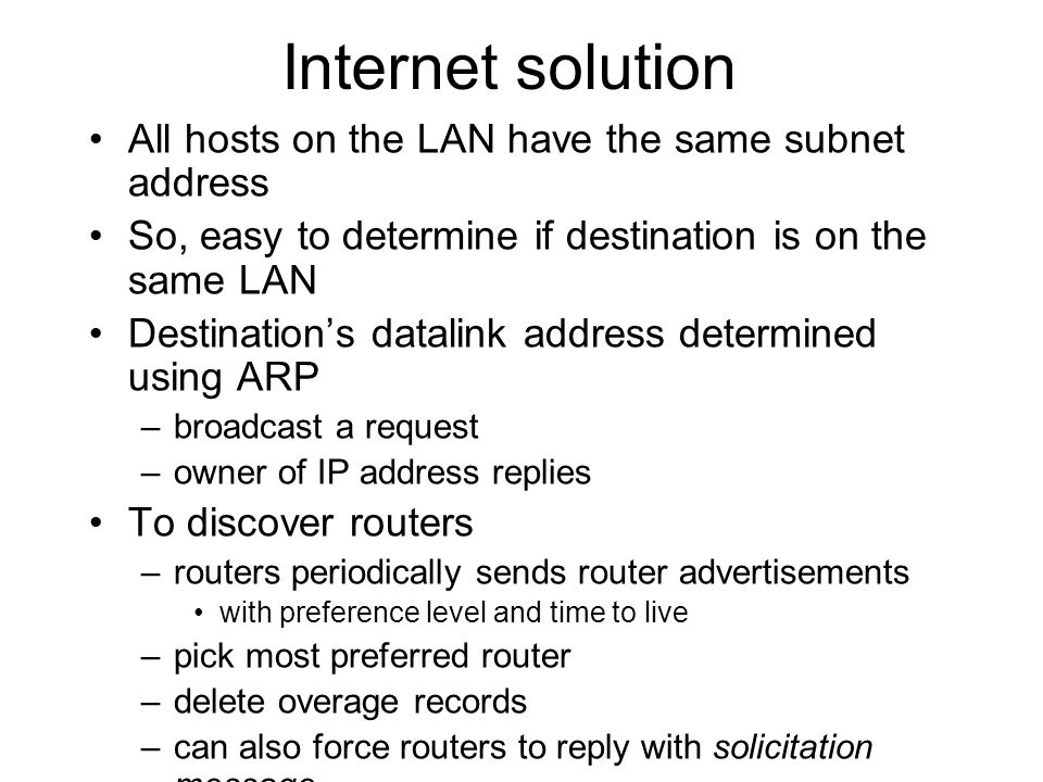 Internet solution All hosts on the LAN have the same subnet address