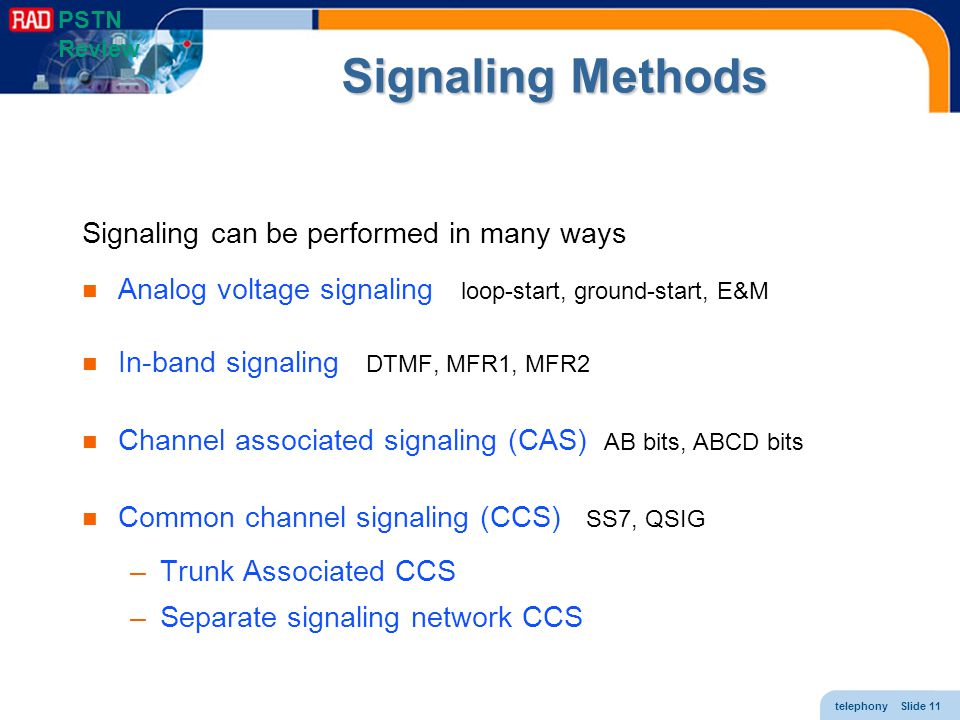Signaling Methods Signaling can be performed in many ways
