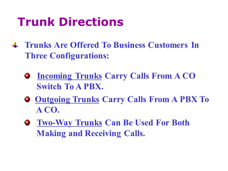 Trunk Directions Trunks Are Offered To Business Customers In