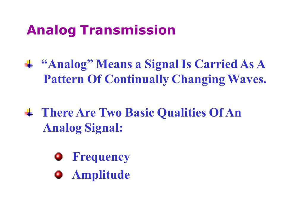 Analog Transmission Analog Means a Signal Is Carried As A. Pattern Of Continually Changing Waves.