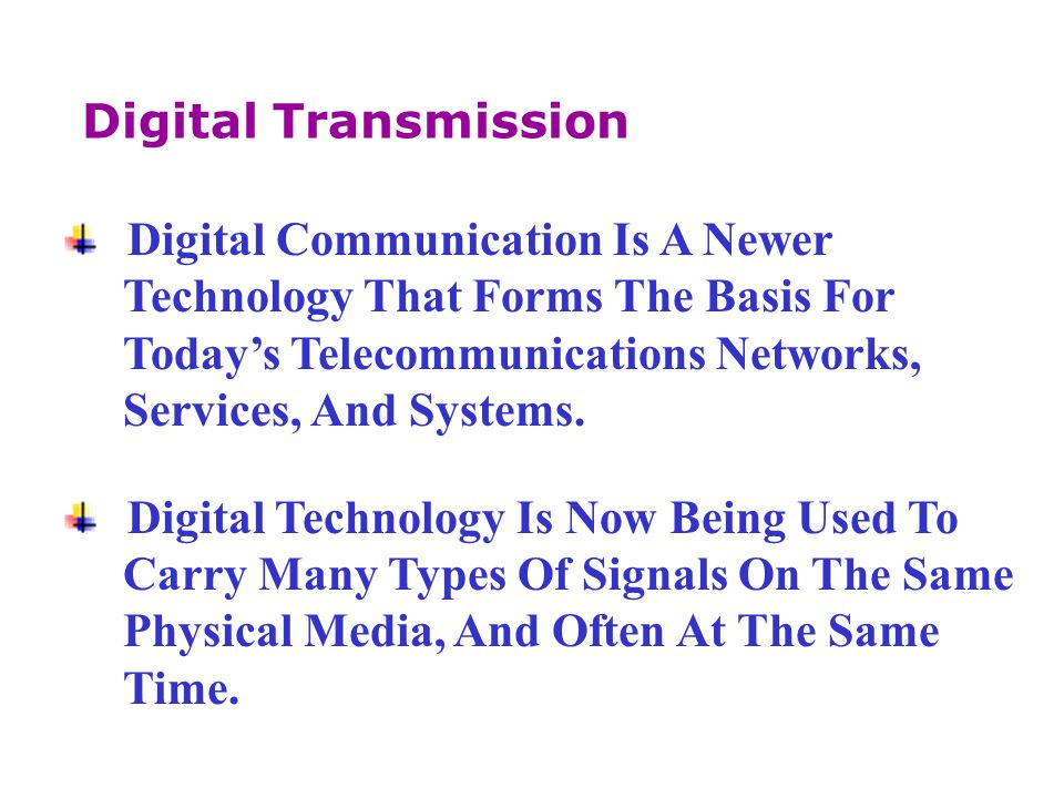 Digital Transmission Digital Communication Is A Newer. Technology That Forms The Basis For. Today's Telecommunications Networks,