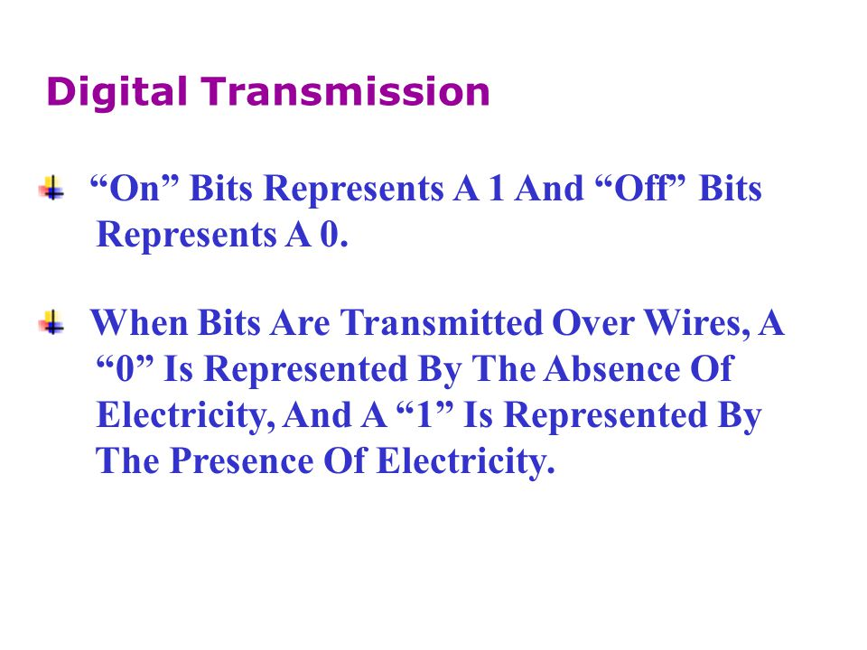 Digital Transmission On Bits Represents A 1 And Off Bits. Represents A 0. When Bits Are Transmitted Over Wires, A.