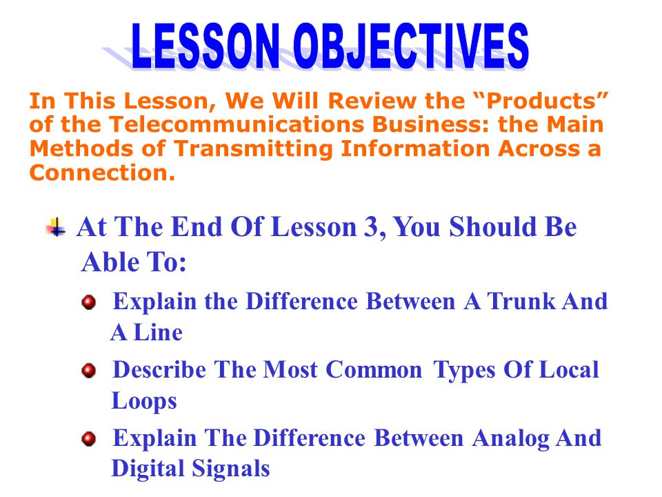 LESSON OBJECTIVES At The End Of Lesson 3, You Should Be Able To: