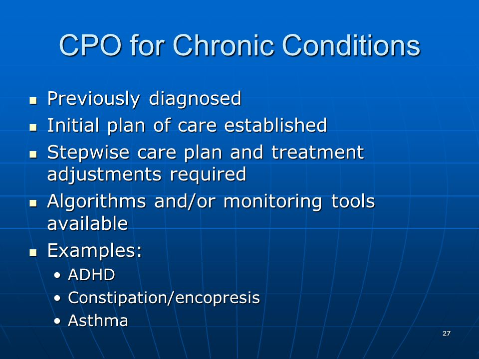 CPO for Chronic Conditions