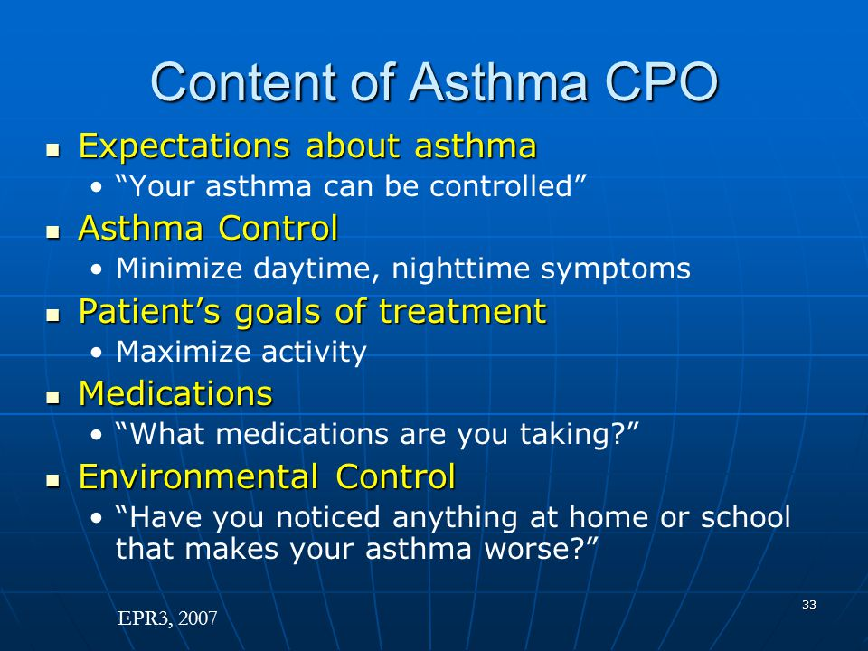 Content of Asthma CPO Expectations about asthma Asthma Control