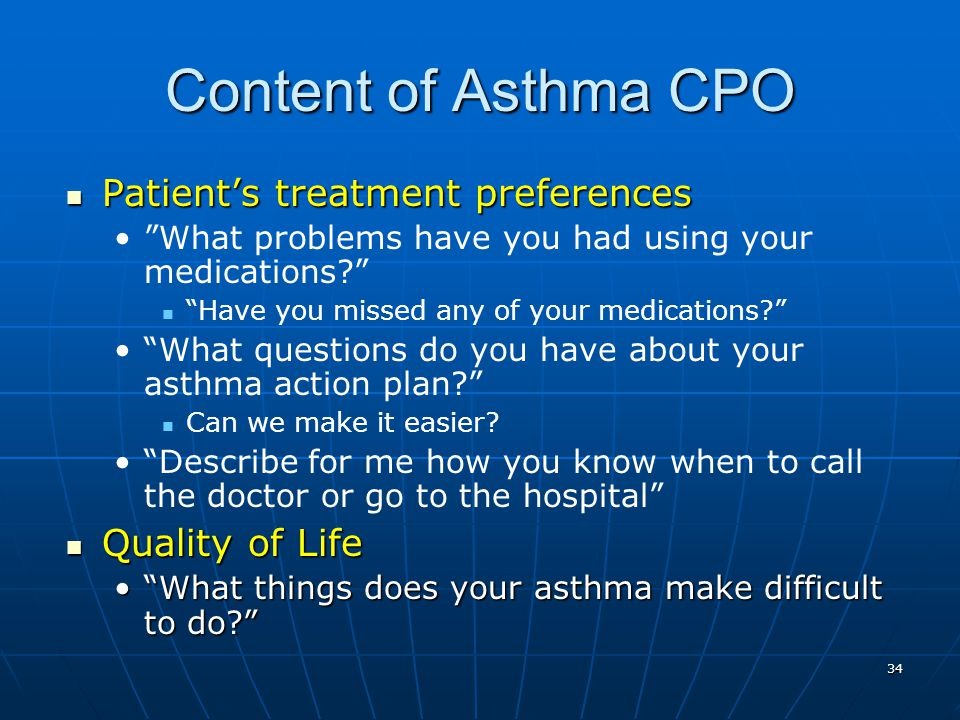 Content of Asthma CPO Patient's treatment preferences Quality of Life