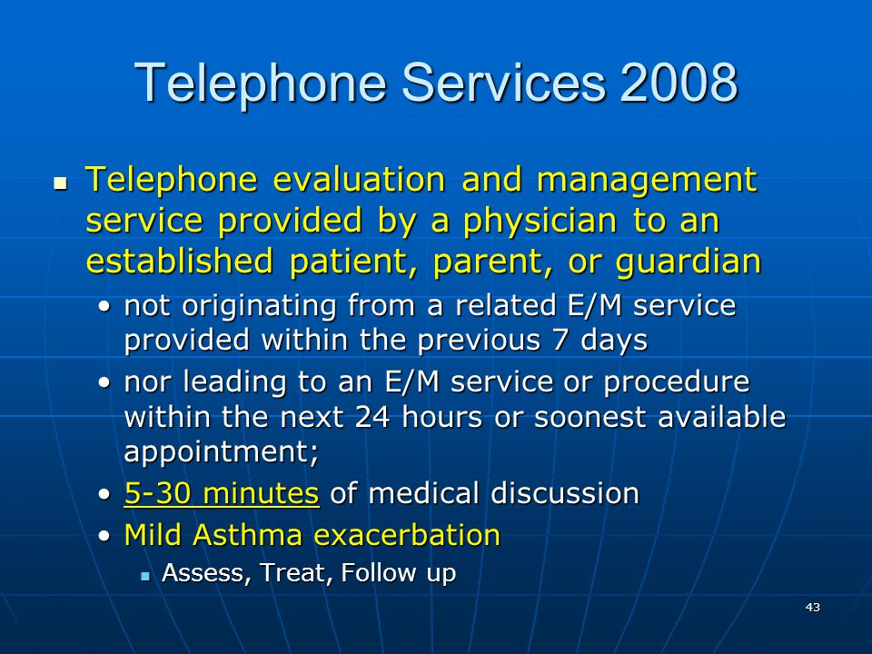 Telephone Services 2008 Telephone evaluation and management service provided by a physician to an established patient, parent, or guardian.