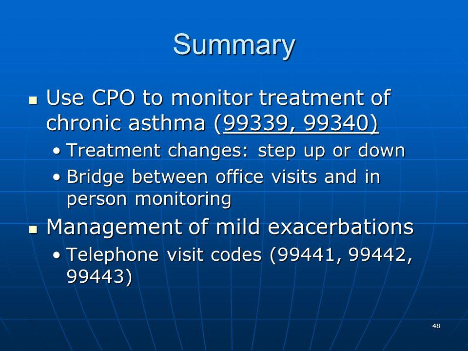 Summary Use CPO to monitor treatment of chronic asthma (99339, 99340)