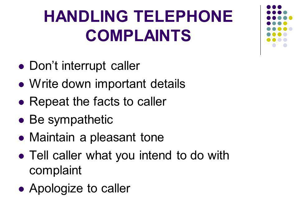 HANDLING TELEPHONE COMPLAINTS