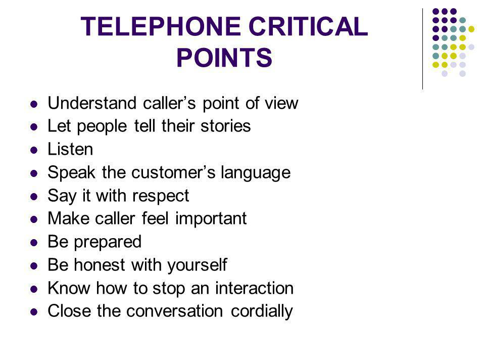 TELEPHONE CRITICAL POINTS