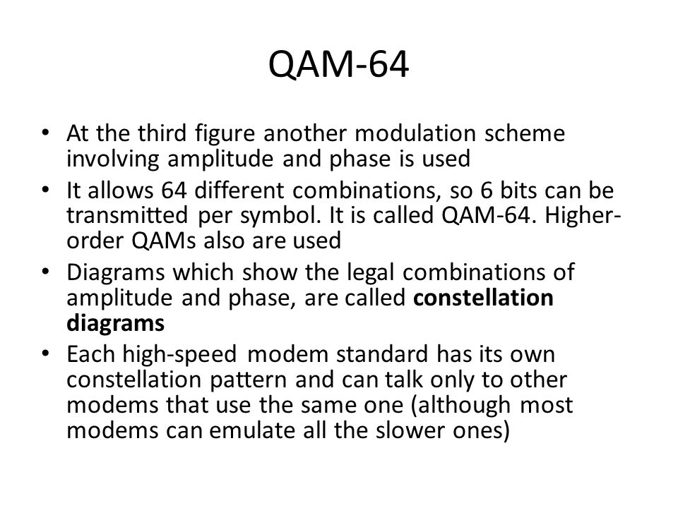 QAM-64 At the third figure another modulation scheme involving amplitude and phase is used.