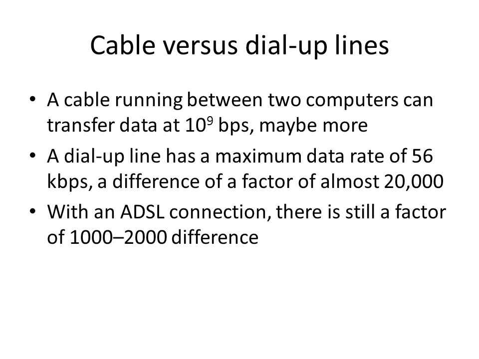 Cable versus dial-up lines