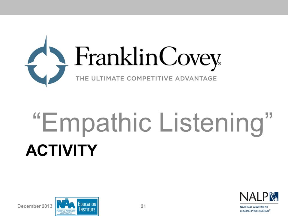 Empathic Listening Activity December 2013