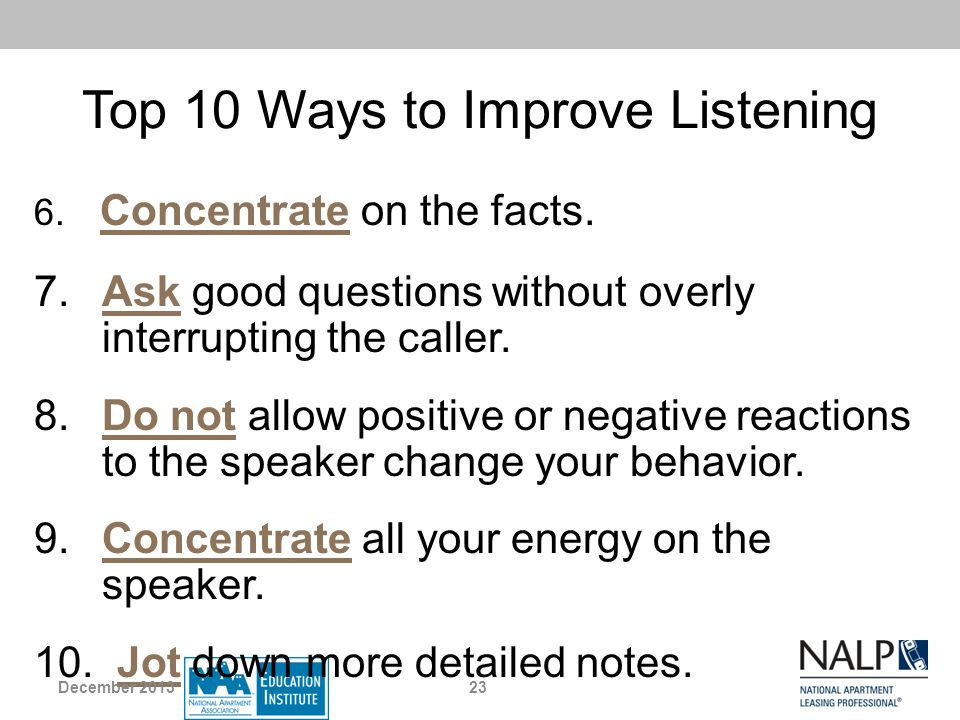 Top 10 Ways to Improve Listening