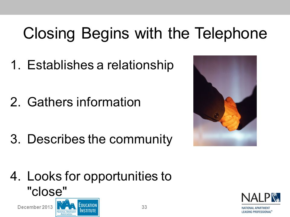 Closing Begins with the Telephone
