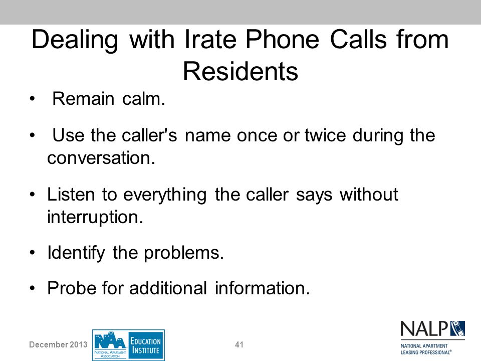 Dealing with Irate Phone Calls from Residents