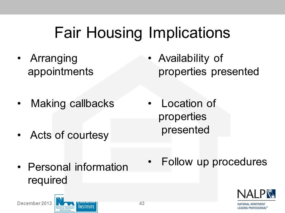 Fair Housing Implications