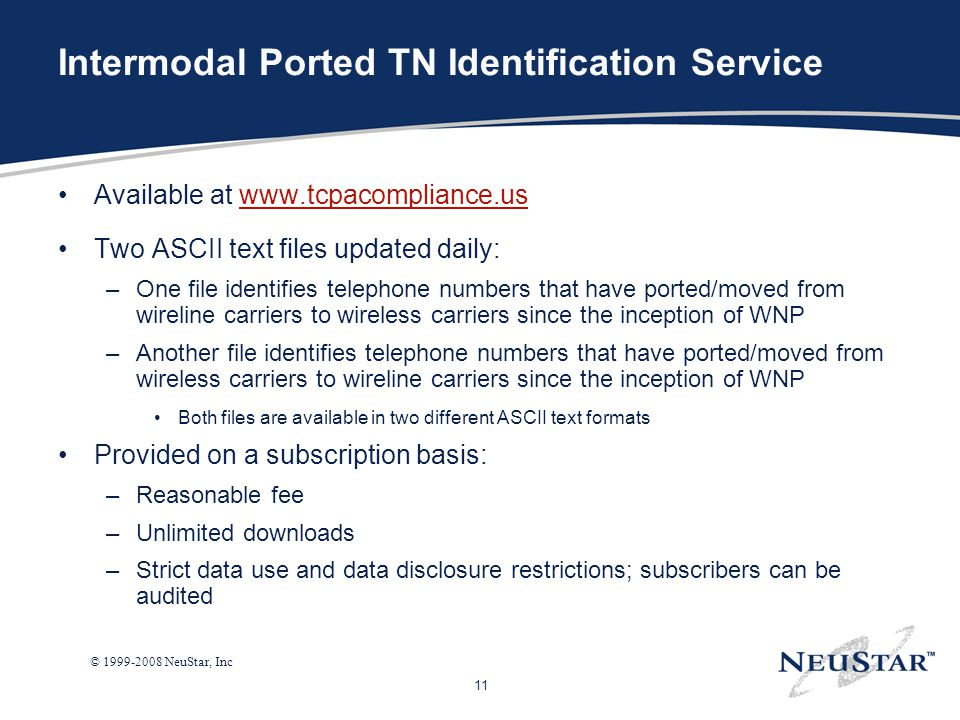 Intermodal Ported TN Identification Service