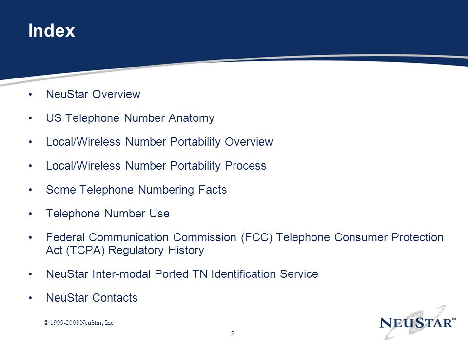 Index NeuStar Overview US Telephone Number Anatomy