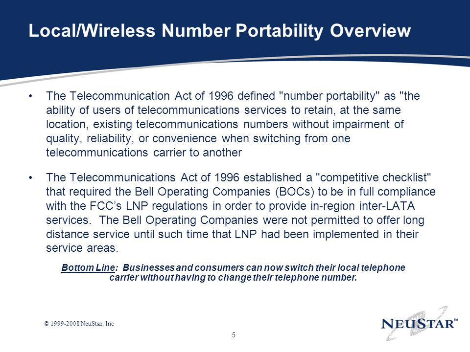 Local/Wireless Number Portability Overview