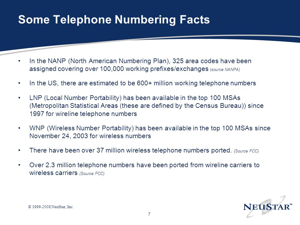 Some Telephone Numbering Facts