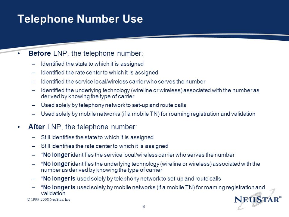 Telephone Number Use Before LNP, the telephone number: