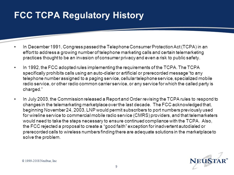 FCC TCPA Regulatory History