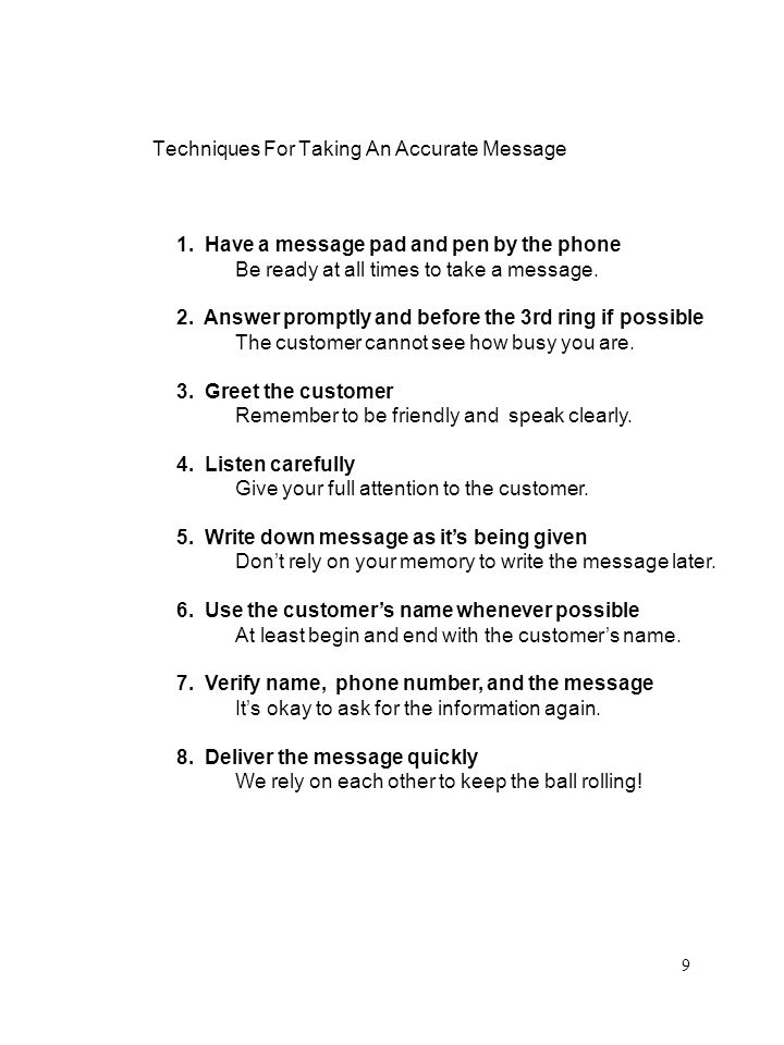 Techniques For Taking An Accurate Message