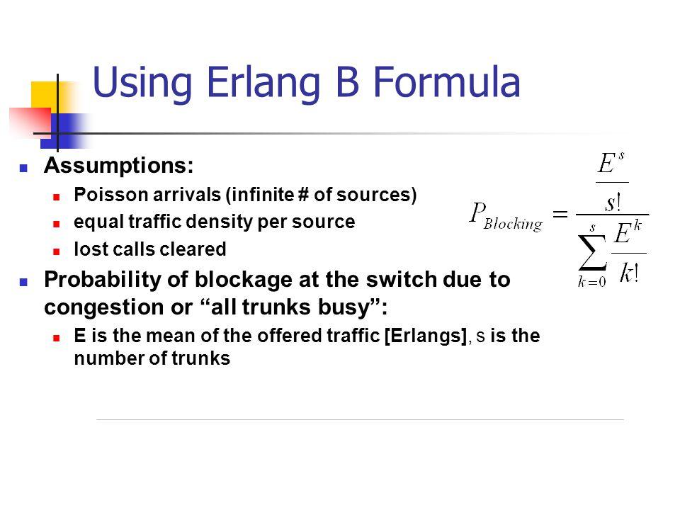 Using Erlang B Formula Assumptions: