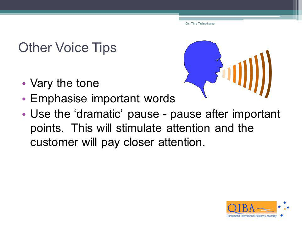 Other Voice Tips Vary the tone Emphasise important words