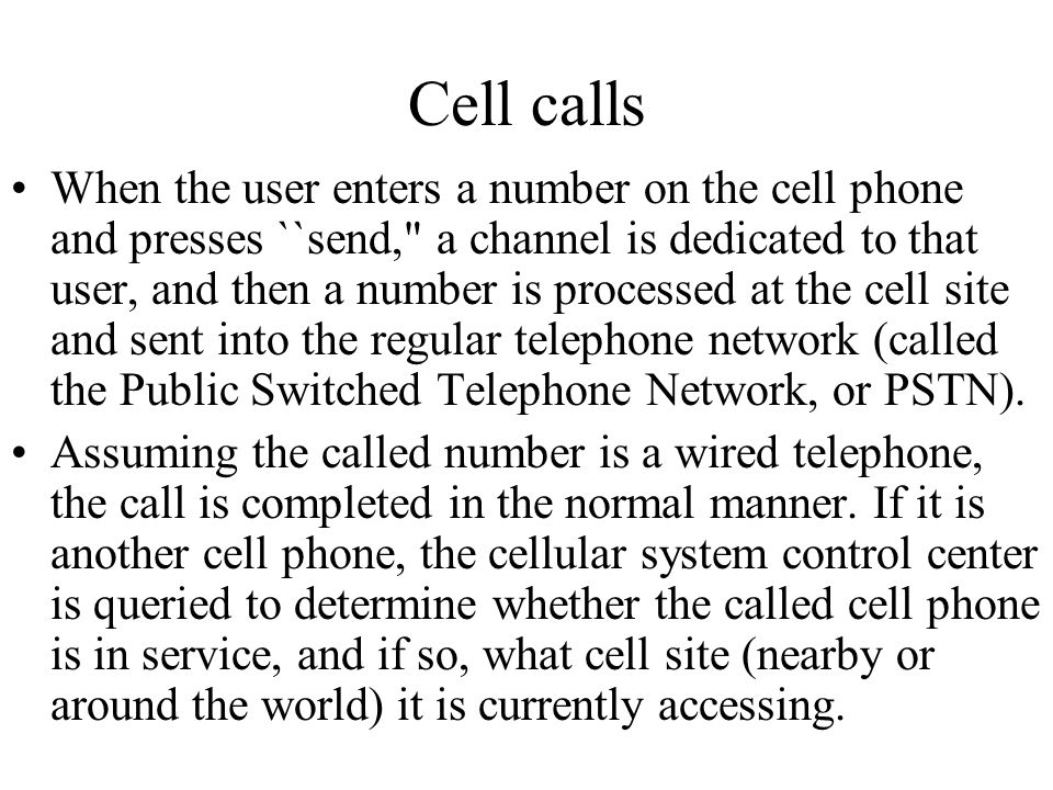 Cell calls