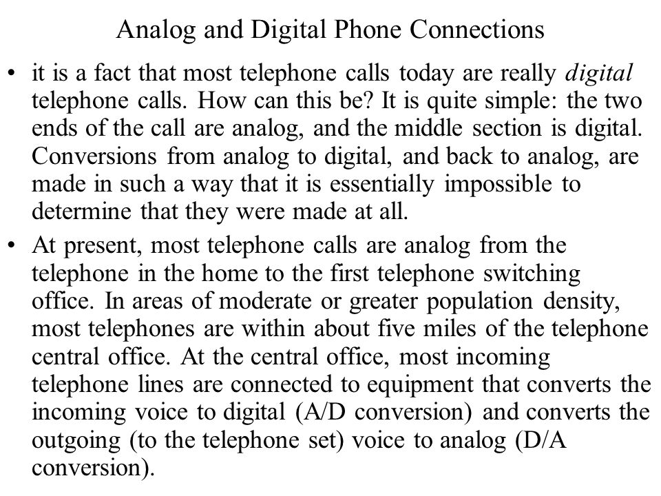 Analog and Digital Phone Connections