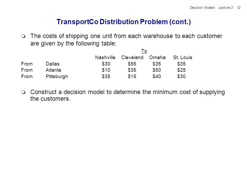 TransportCo Distribution Problem (cont.)