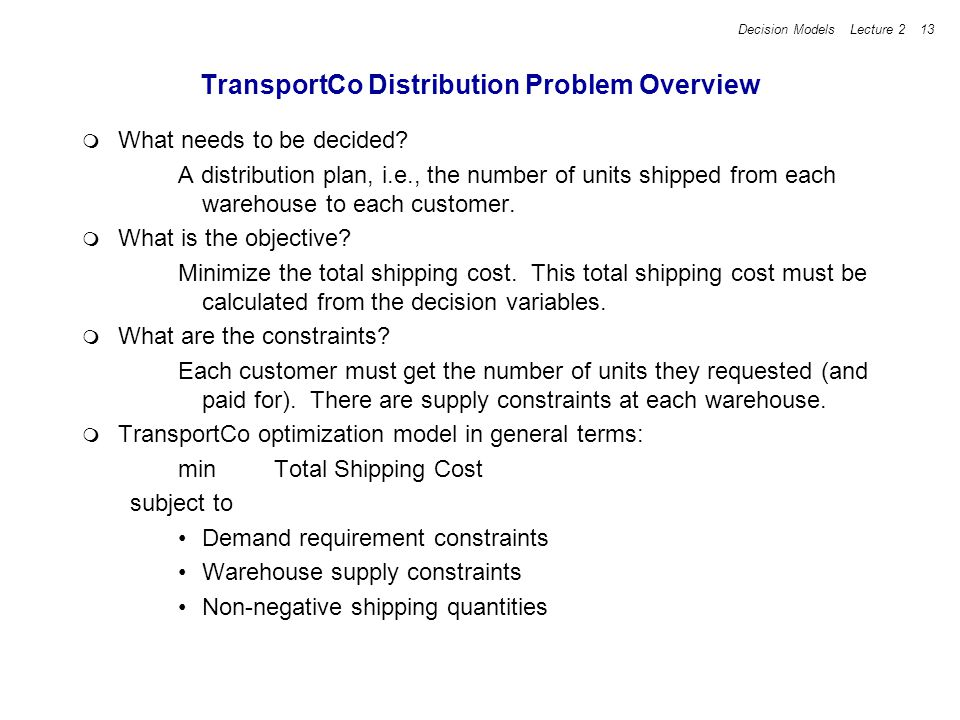 TransportCo Distribution Problem Overview