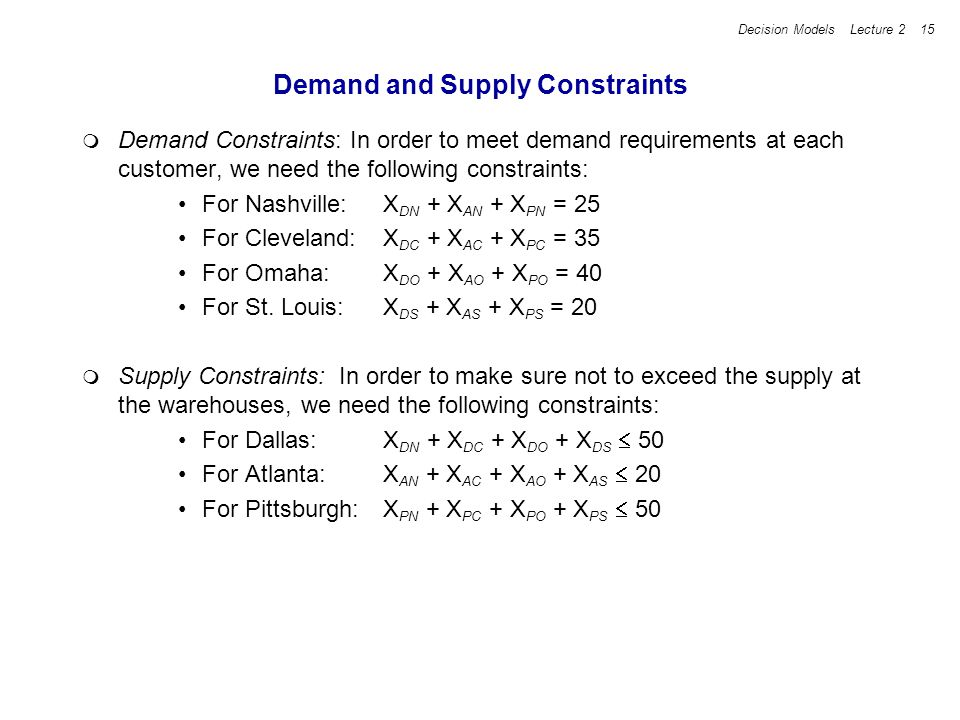 Demand and Supply Constraints
