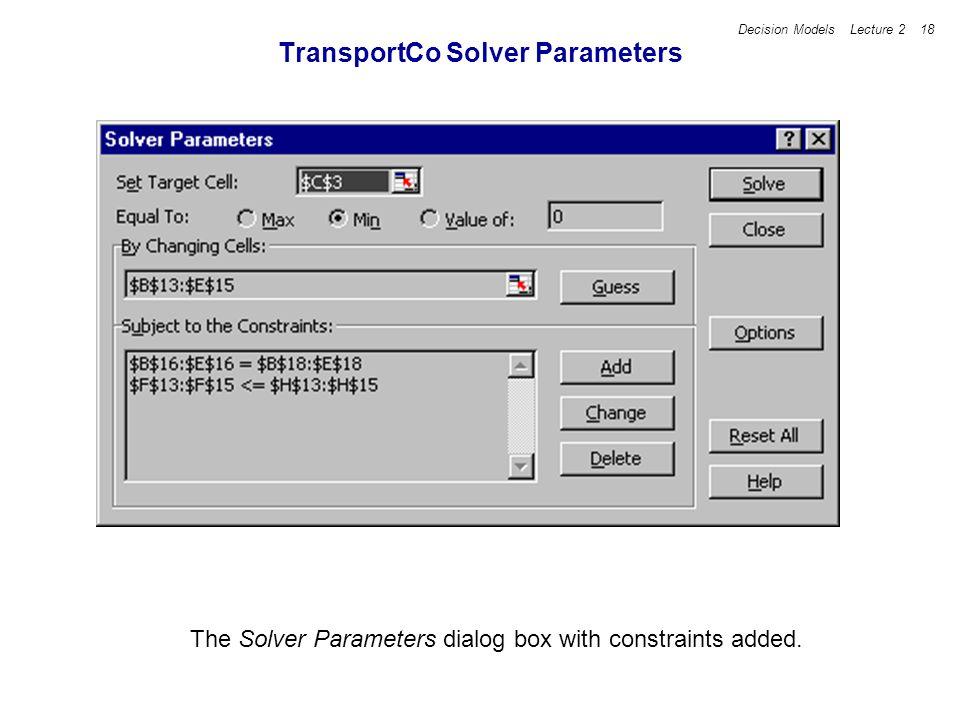 TransportCo Solver Parameters