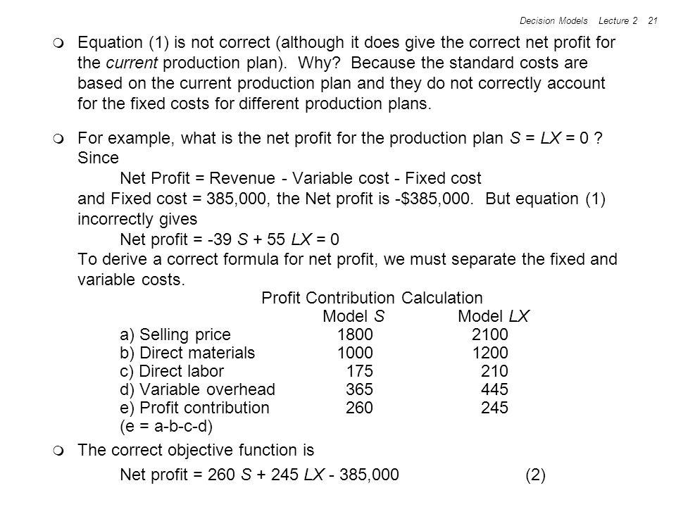 Profit Contribution Calculation