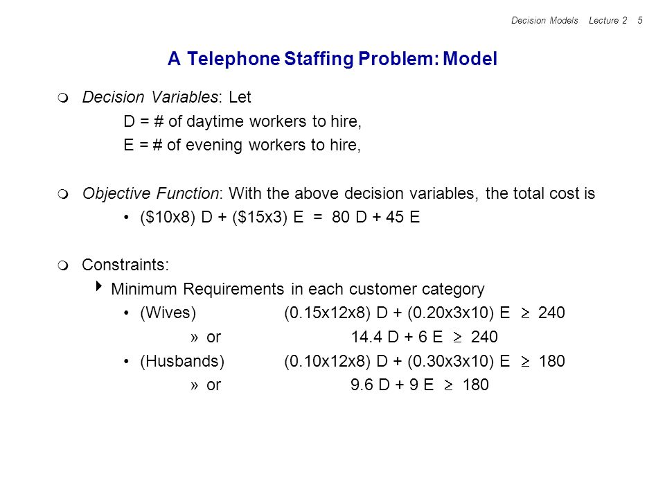 A Telephone Staffing Problem: Model