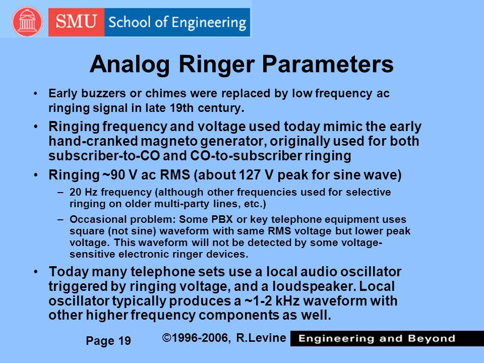 Analog Ringer Parameters