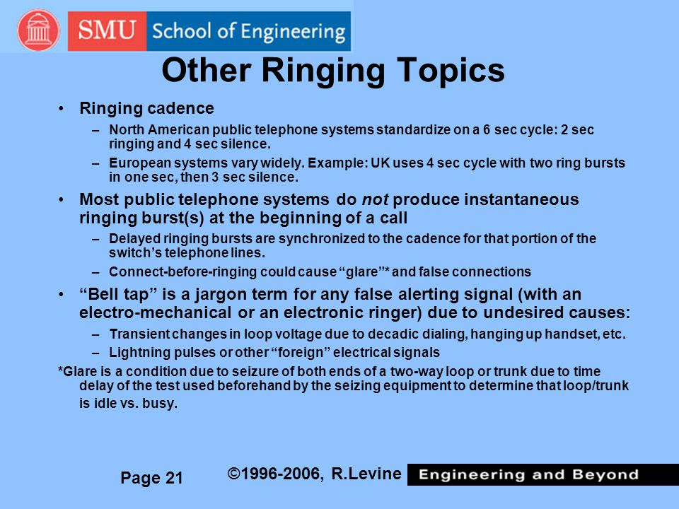 Other Ringing Topics Ringing cadence