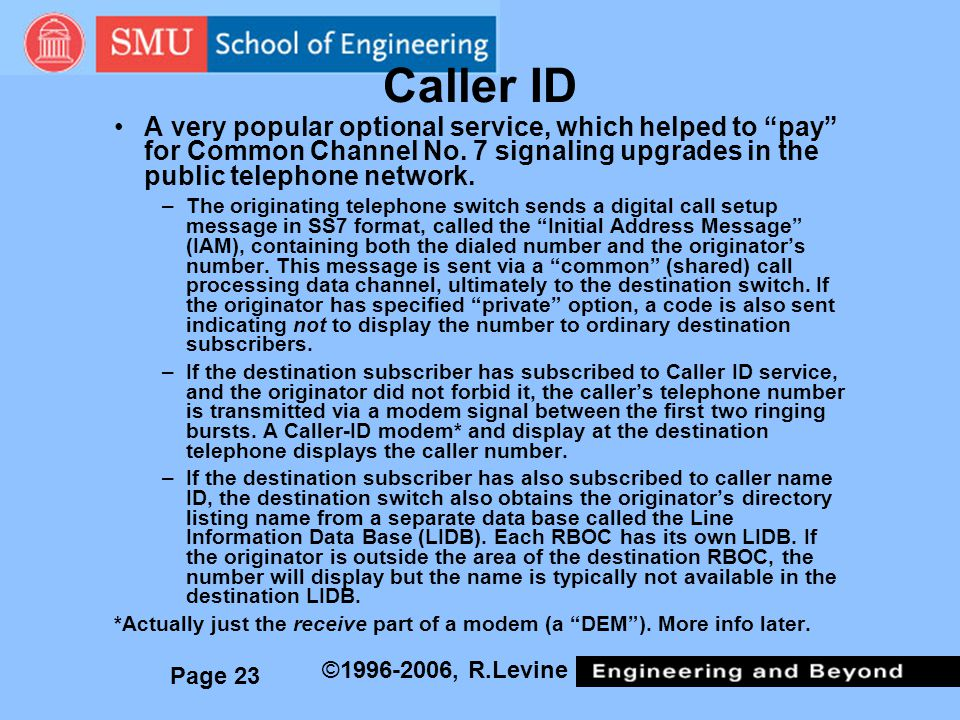 Caller ID A very popular optional service, which helped to pay for Common Channel No. 7 signaling upgrades in the public telephone network.