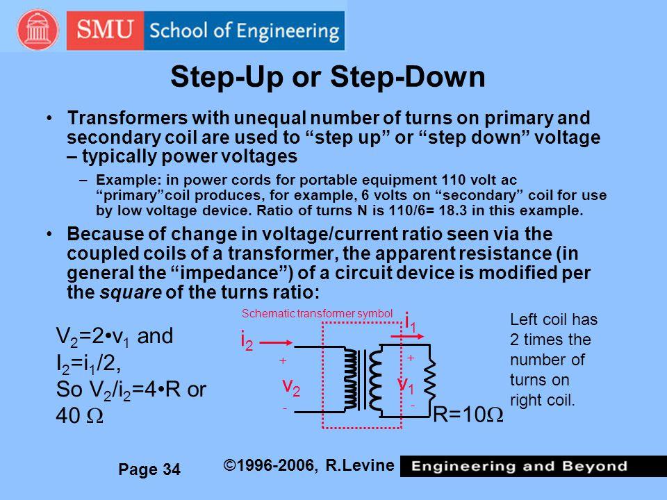 Step-Up or Step-Down i1 V2=2•v1 and I2=i1/2, i2 So V2/i2=4•R or 40 