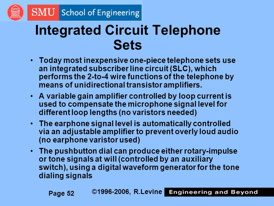 Integrated Circuit Telephone Sets